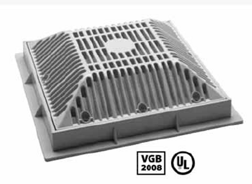 "WATERWAY | 9"" x 9"" SQUARE FRAME AND GRATE, GRAY 