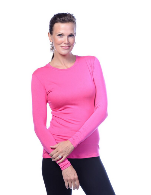 Fuchsia Purple Crew Neck Long Sleeve Top