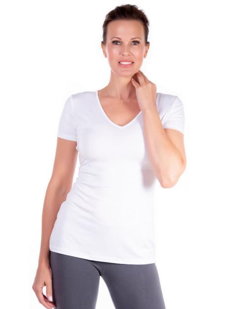 White V-Neck Short Sleeve