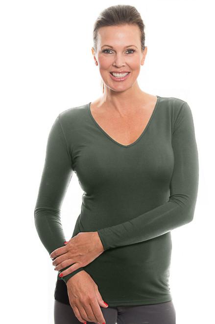 Olive V-neck Long Sleeve