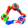 """Piranha Silicone Hand Pipe 4"""" Spoon w/ Glass Bowl - Assorted Colors"""