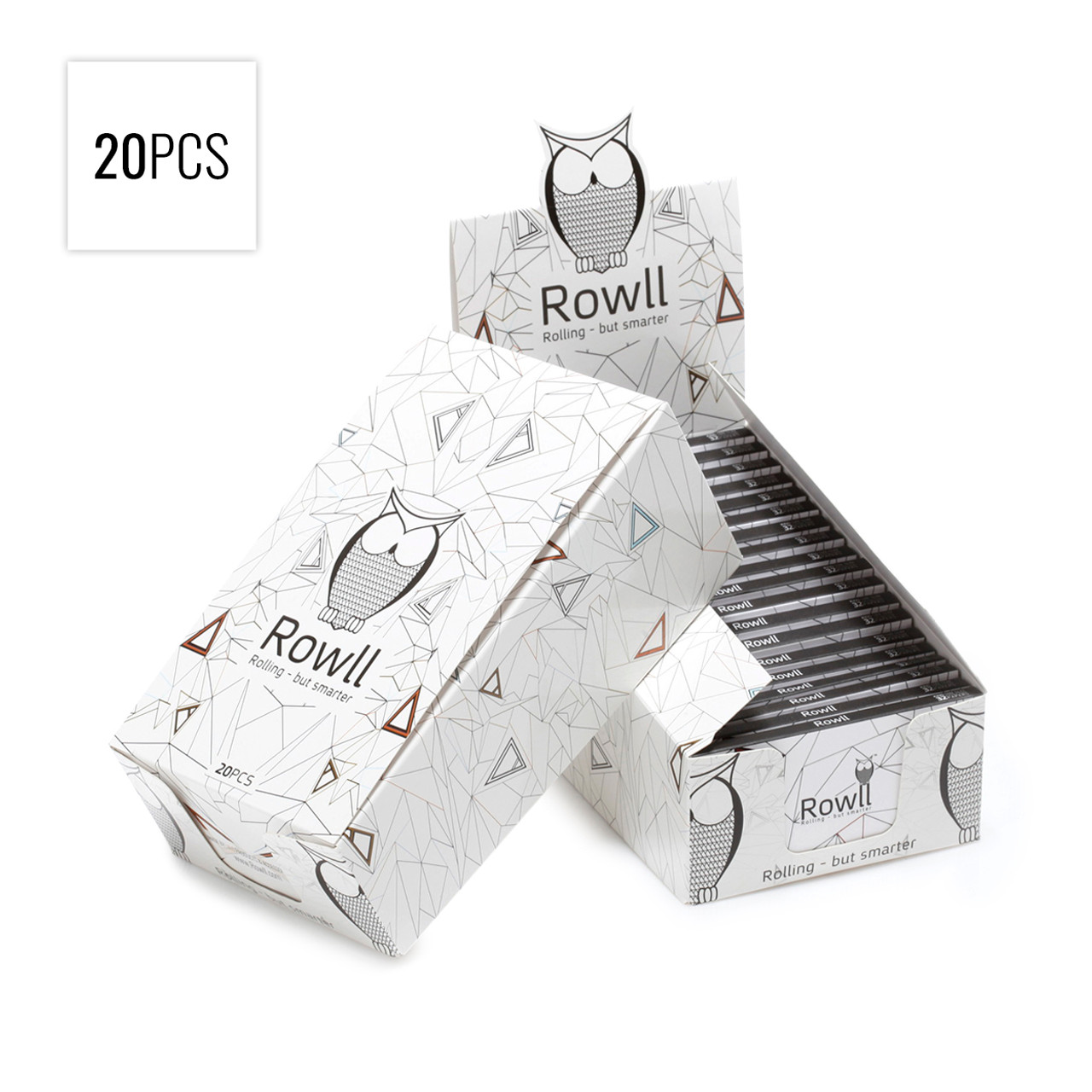 Rowll - King Size Extra Slim Rolling Papers w/ Filters, Grinder & Rolling Surface (Display of 20 w/ 32 Papers per Pack)