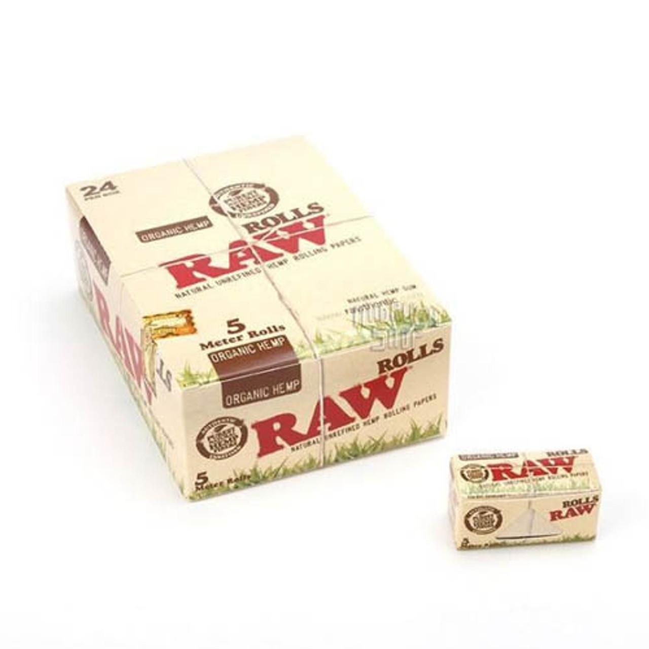 RAW Organic Hemp Rolls King Size Rolling Paper 5 Meter Roll (Display of 24)