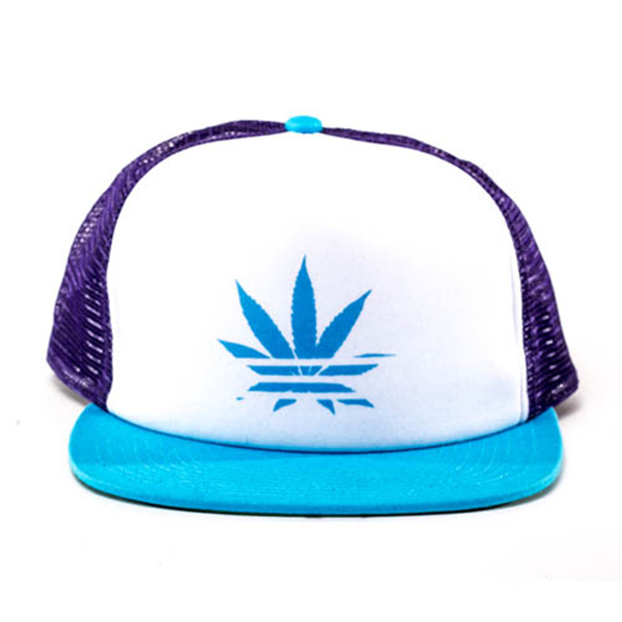 No Bad Ideas - Snapback Trucker Cap - Kali (White/Blue Leaf)