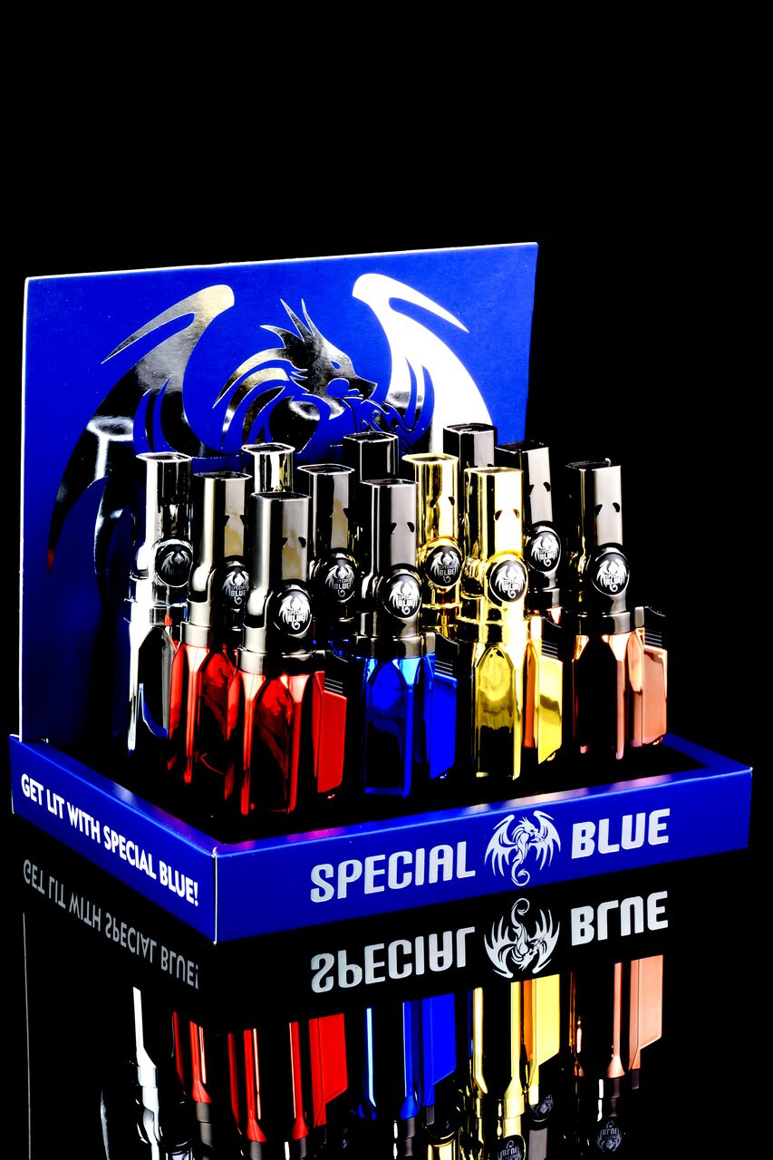Special Blue Lazer Lighter 12pc Display - Assorted Colors