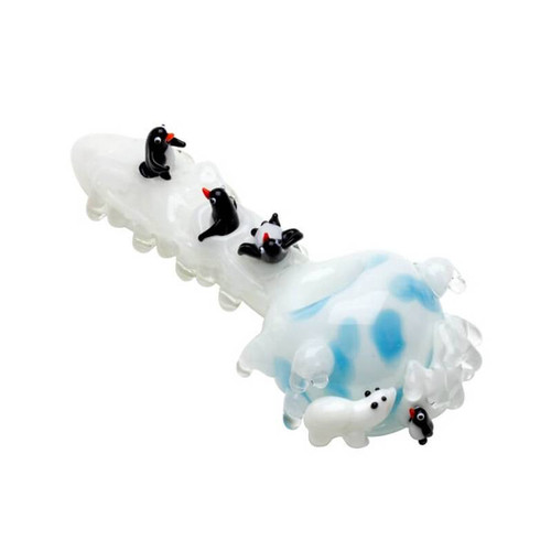 "Empire Glassworks - 4"" Spoon Pipe - Icy Penguins"