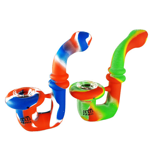 "Piranha Silicone - Hand Pipe - 5"" Sherlock w/ Glass Bowl - Assorted Colors"
