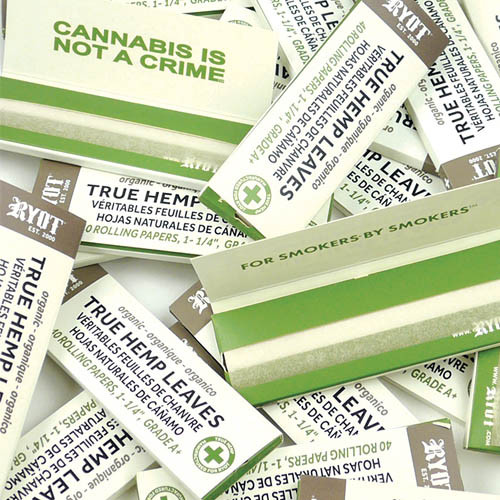 "RYOT Rolling Papers 1 1/4"" Organic True Hemp Leaves - ""Not A Crime"" Graphic (25pc Display)"