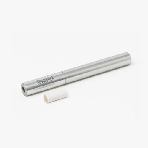 SilverStick One Hitter Pipe w/ Filter - Polished Silver
