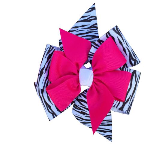 4 Loop 2 Layer Zebra Flower Bow  FLOWER300ZEGG