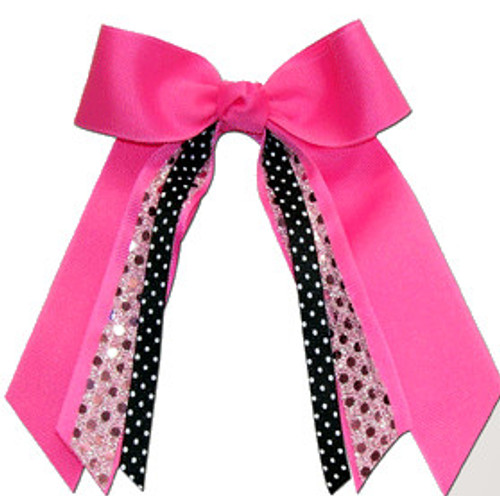 Small Bow with Sequin Streamer & Print Accent  SB300PR