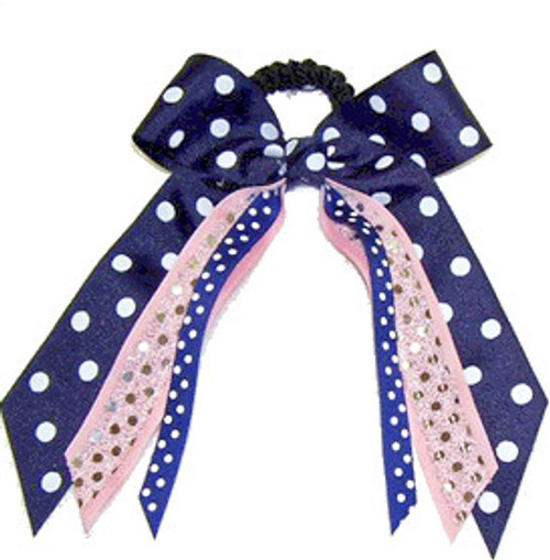 Small Print Bow with Sequin Streamer & Print Accent  SB300PBPR