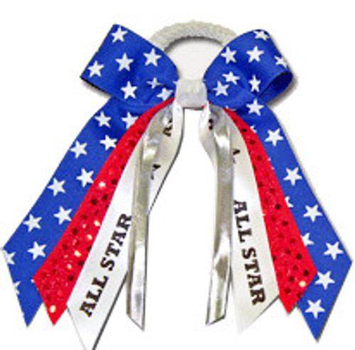 Small Print Bow with Sequin & Sport or Mascot Streamer  SB400PB