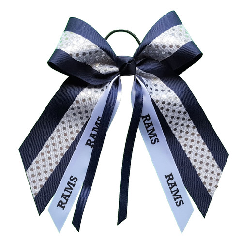 Large Bow Sequin Accent with Sport or Mascot Streamer  LB500SP LB500MS