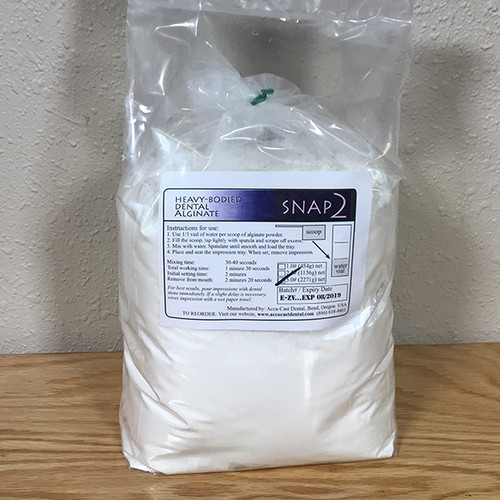 SNAP2 Dental Alginate- 5 pound Refill Bag US Made Dental Alginate sold directly to the dental office at wholesale prices Bag comes with scoop and vial