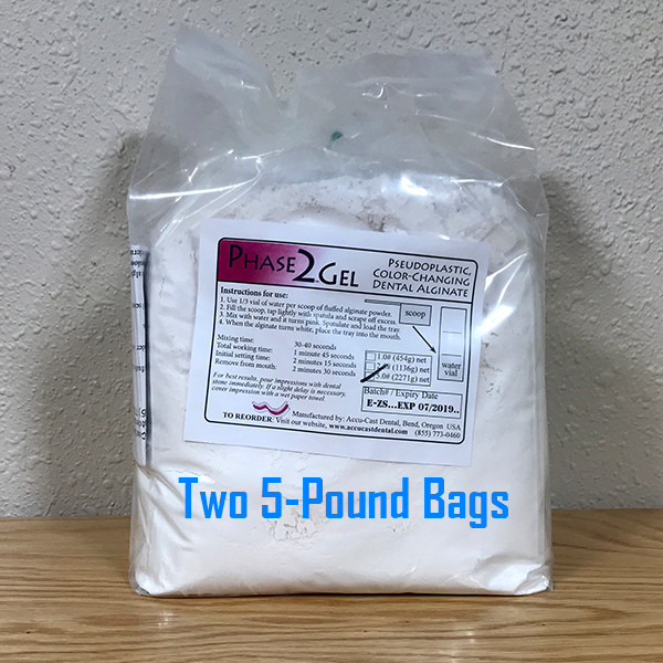 Phase2Gel Dental Alginate- 10 Pounds (2x5 pound bags) US made dental alginate sold directly to the dental office at wholesale prices Bags include scoop and vial