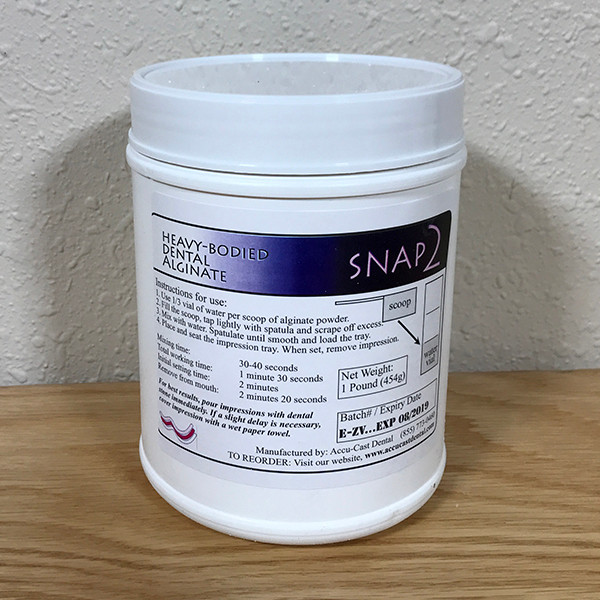 SNAP2 Dental Alginate- 1 pound canister US Made Dental Alginate sold directly to the dental office at wholesale prices Canister comes with scoop and vial