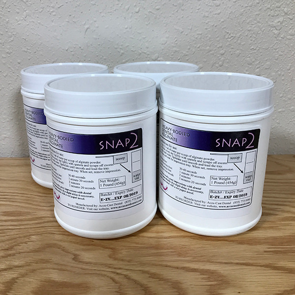 SNAP3 Dental Alginate- Four 1-pound canisters US Made Dental Alginate sold directly to the dental office at wholesale prices Each canister comes with scoop and vial