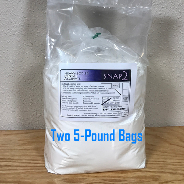 SNAP2 Dental Alginate- 10 Pounds (2x5-Pound bags) US Made dental alginate sold directly to the dental office at wholesale prices Bags include scoop and measuring vial