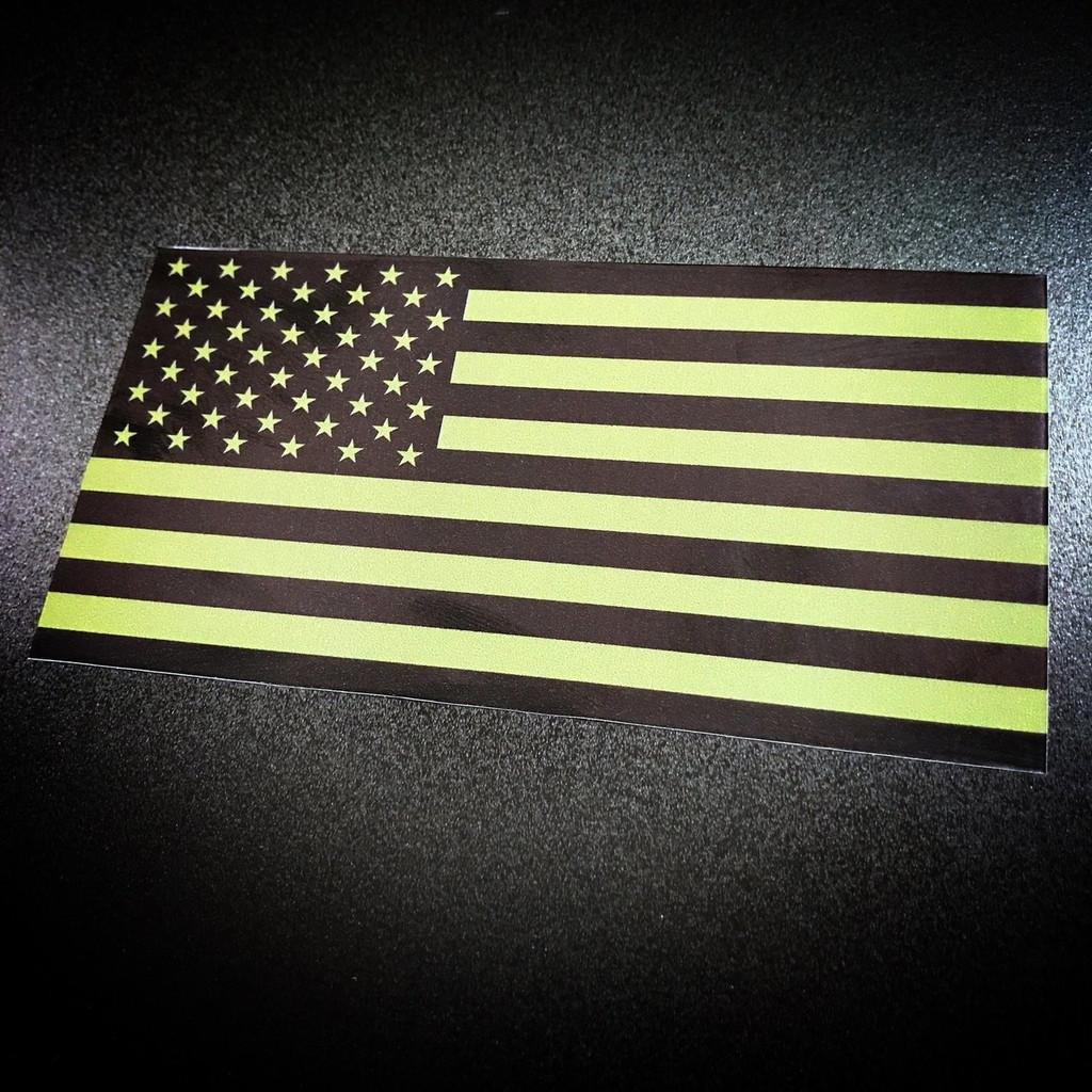 American Flag green sticker