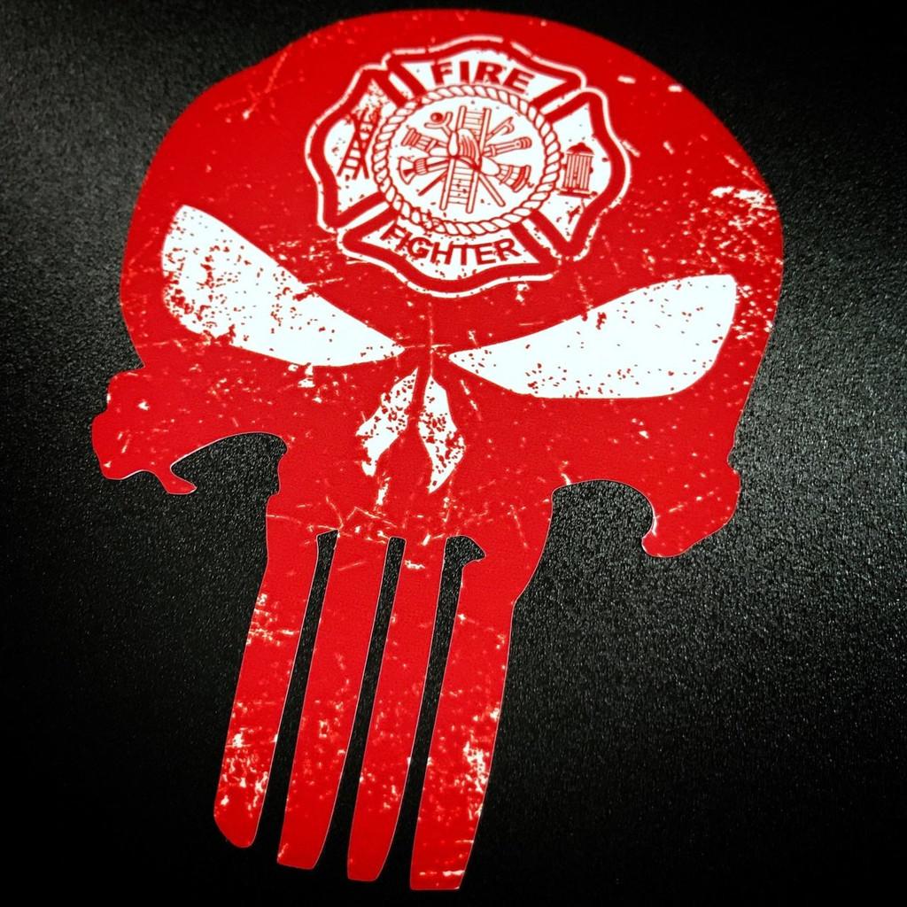 Punisher Firefighter Fireman Firemen Red Sticker