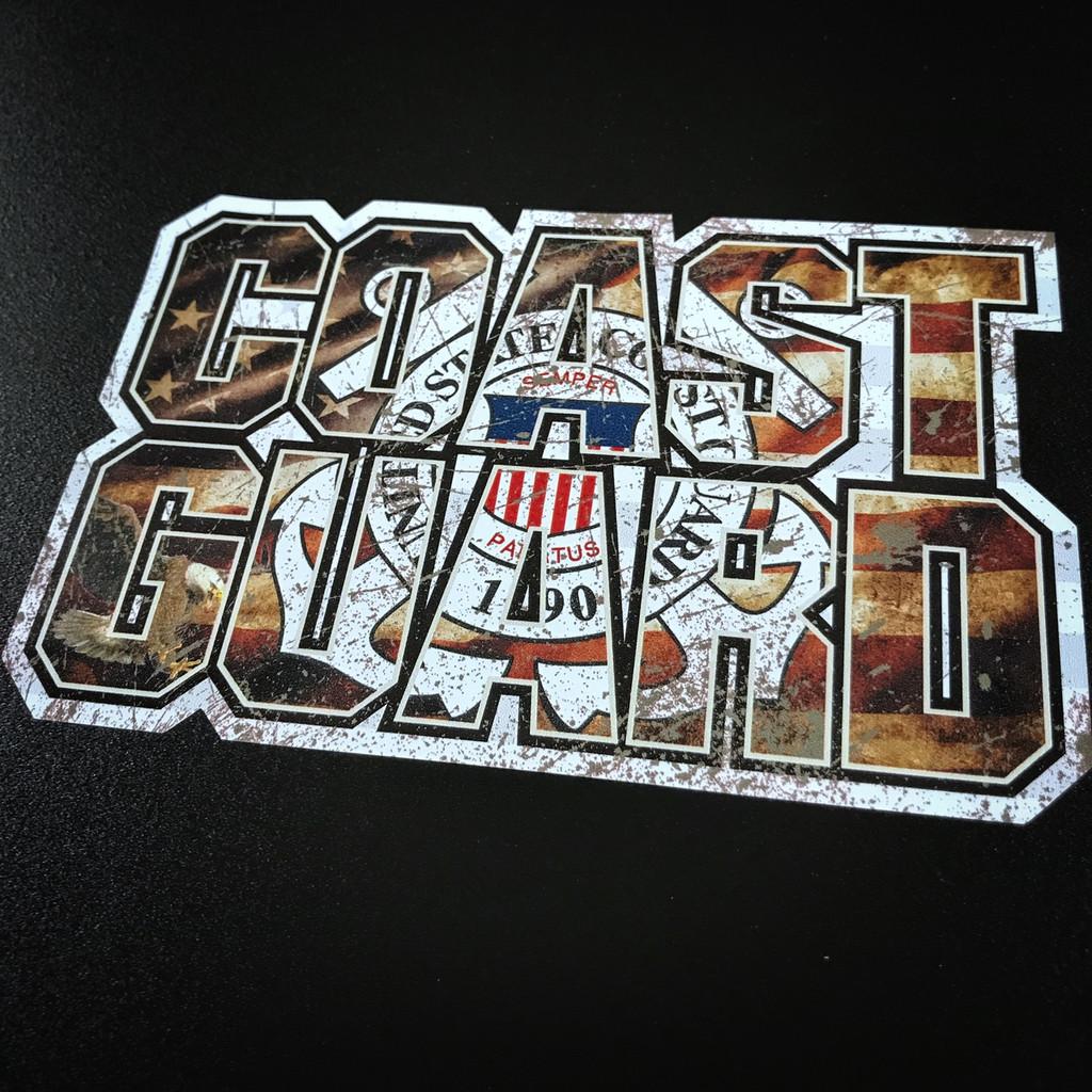 Coast Guard Flag Lettering - Sticker