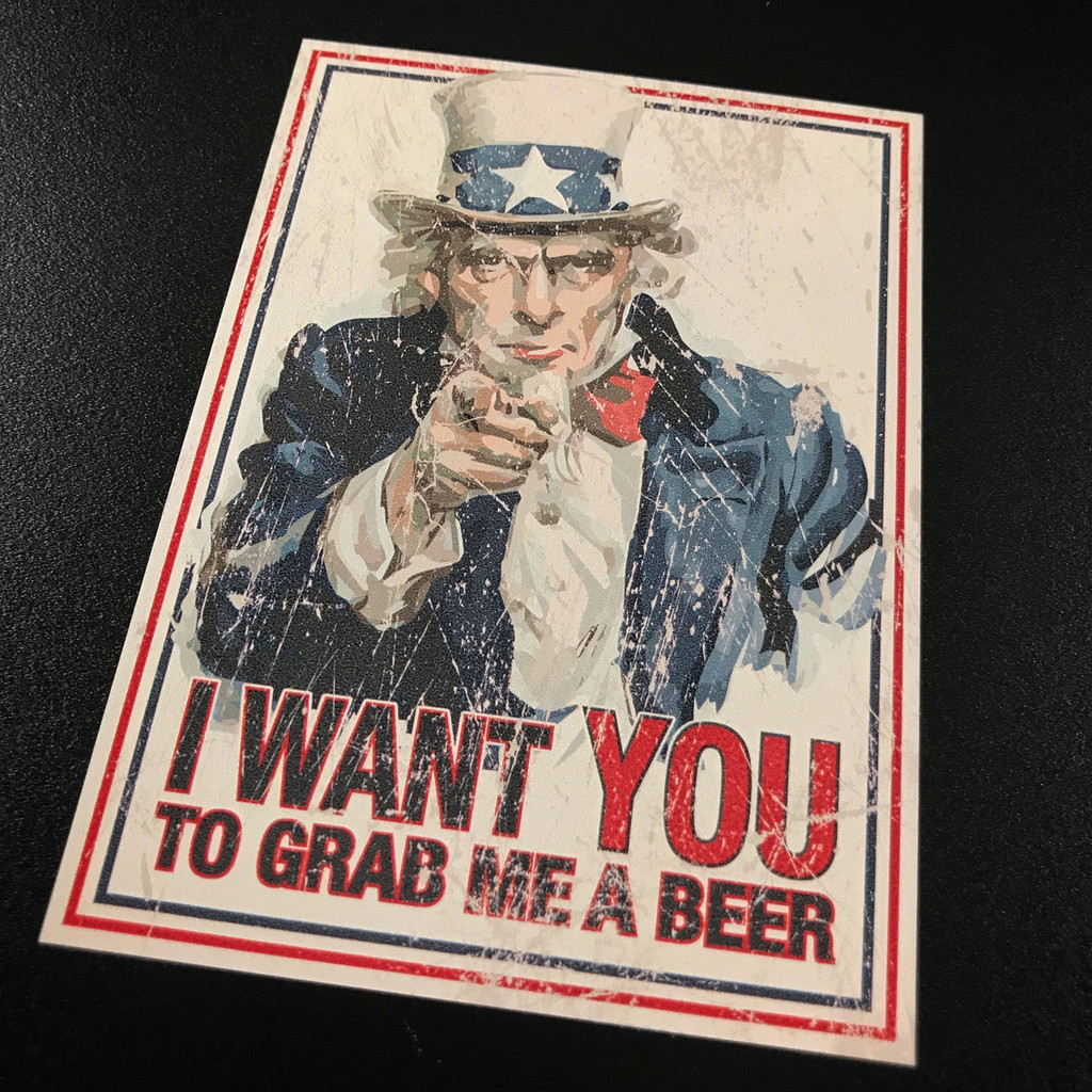 Fugly Coolers Uncle Sam I Want You To Grab Me a Beer Sticker