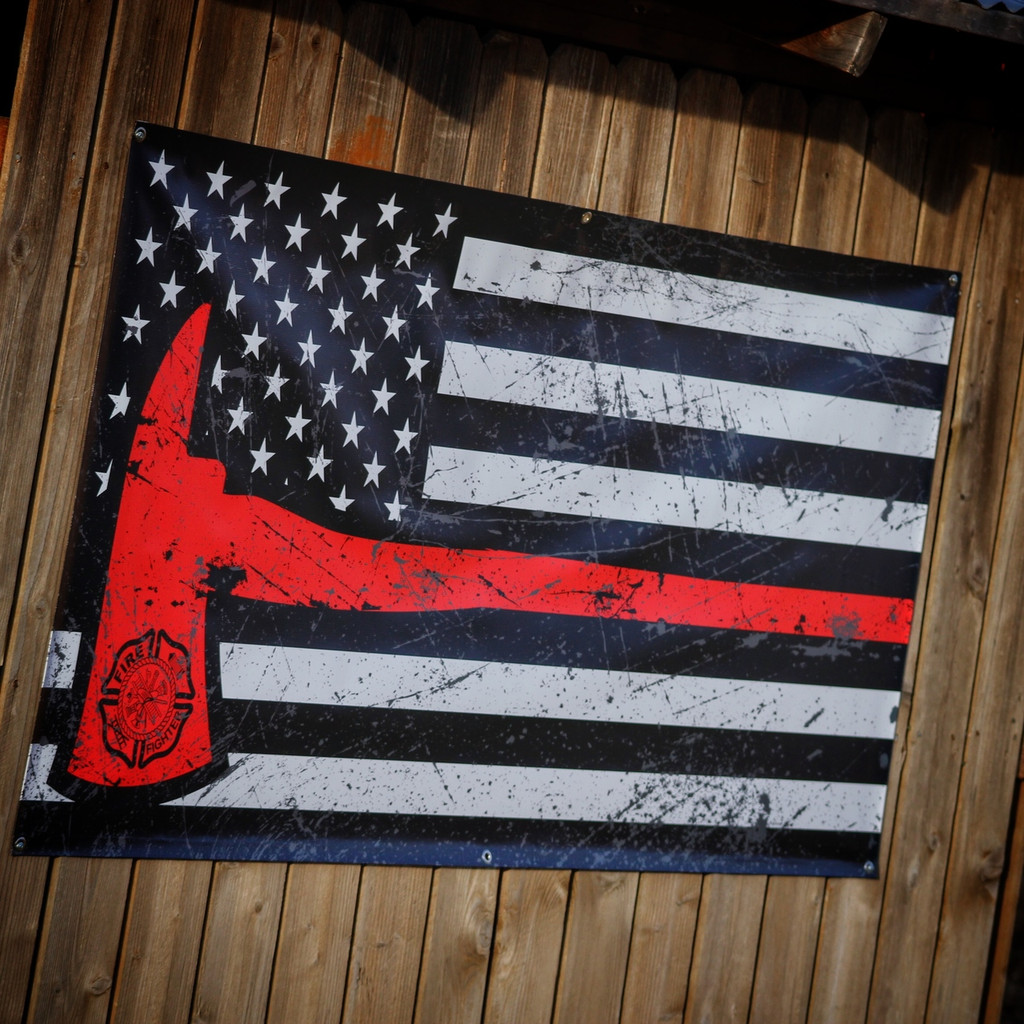 American Flag Firefighter Thin Red Line Axe - Banner