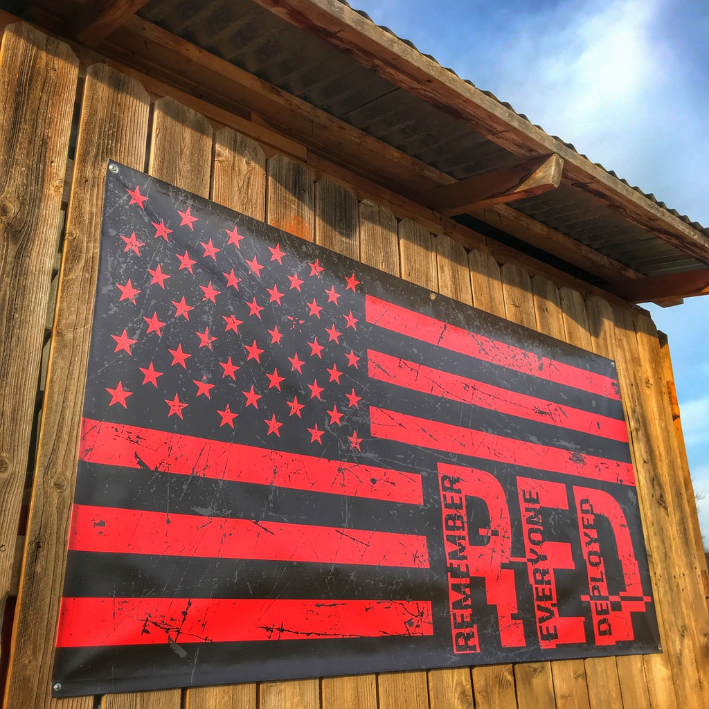 Remember Everyone Deployed RED R.E.D. Flag  - Banner