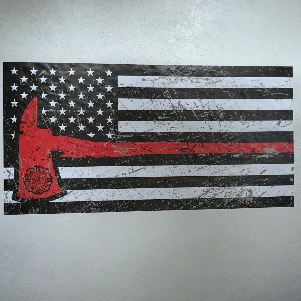 American Firefighter Red Axe Flag - Wall Decal