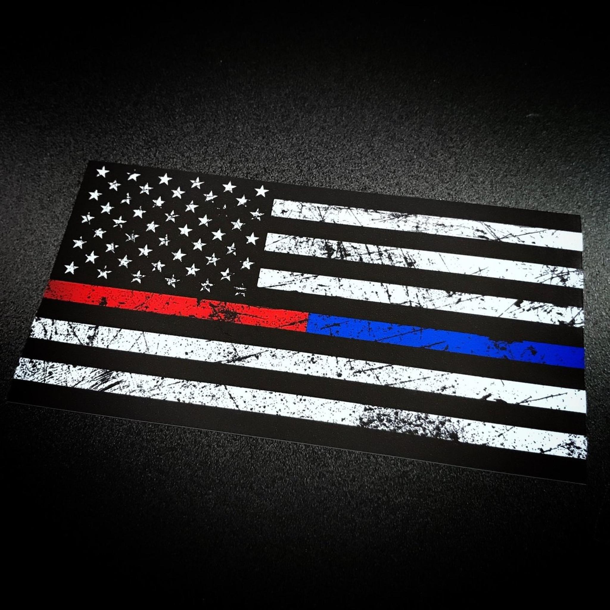 American flag rustic red blue stripe sticker