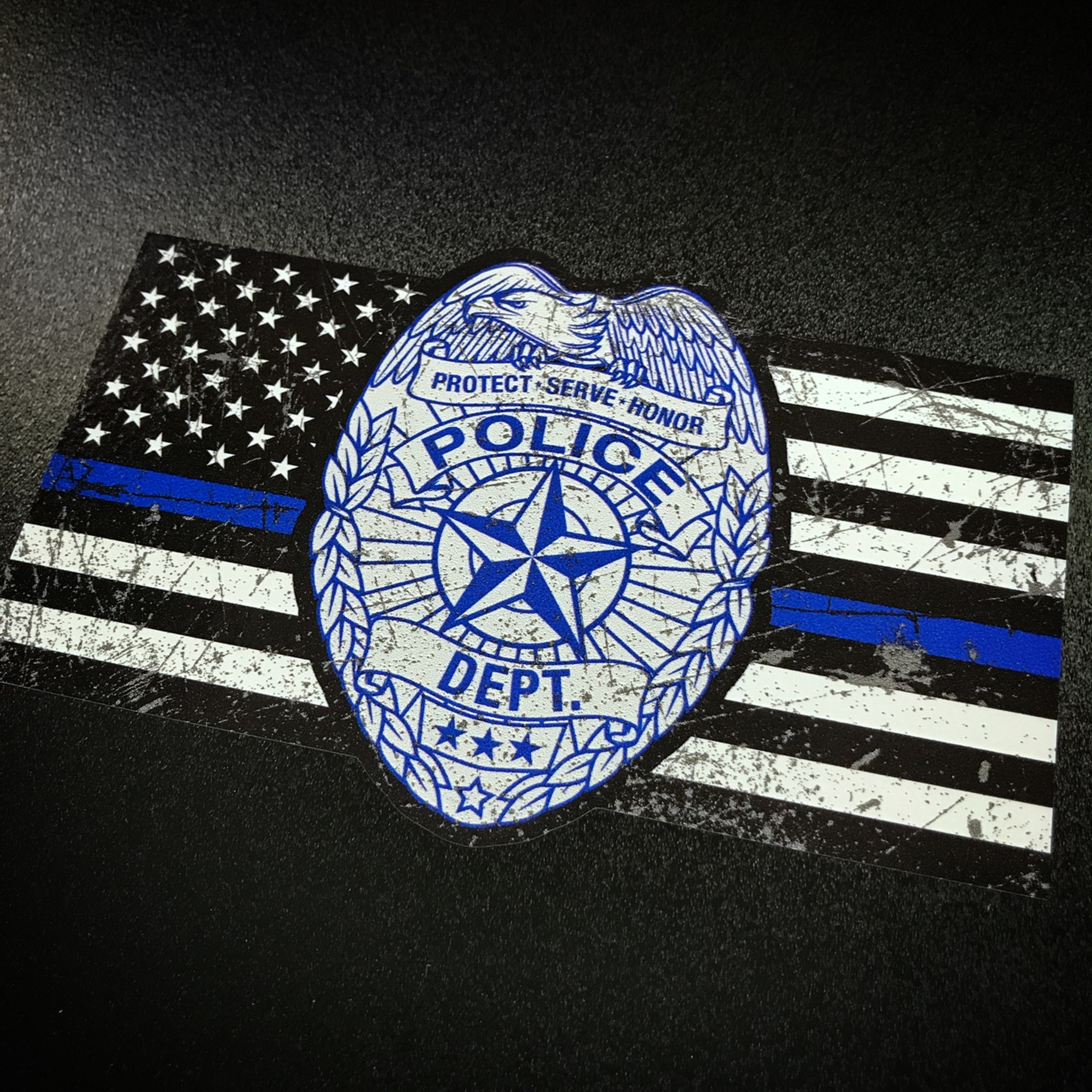 Thin Blue Line Police Badge Flag Sticker