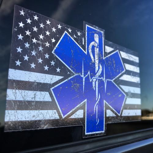 Paramedic EMS EMT Flag Sticker