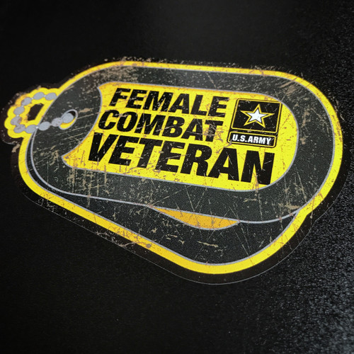 Female ARMY Combat Veteran Dog Tags - Sticker