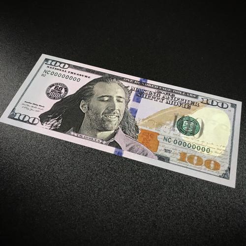 Nicolas Nick Cage Fake Hundred Dollar Bill Money - Sticker