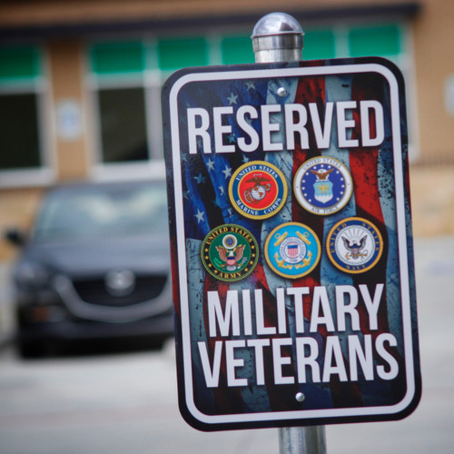 Reserved Military Veterans Parking 12 x 18 - Metal Sign