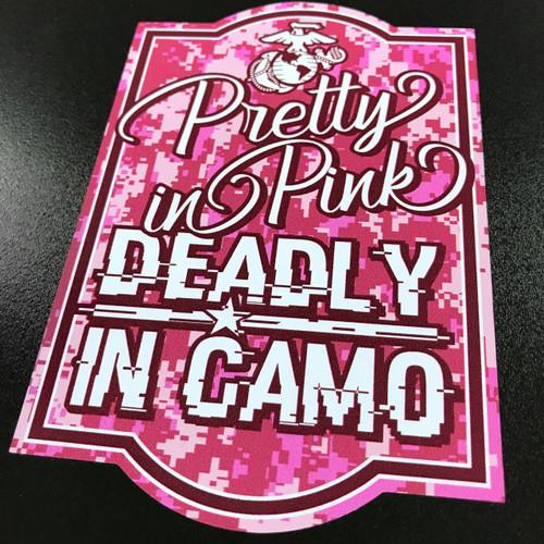 USMC Pretty In Pink Deadly In Camo - Sticker