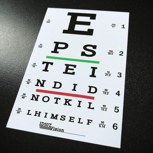 Epstein Did Not Kill Himself Eye Chart - Sticker
