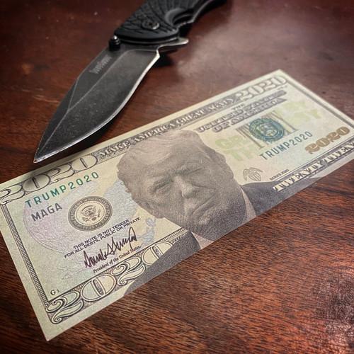 Trump 2020 Fake Money Twenty Dollar Bill - Sticker