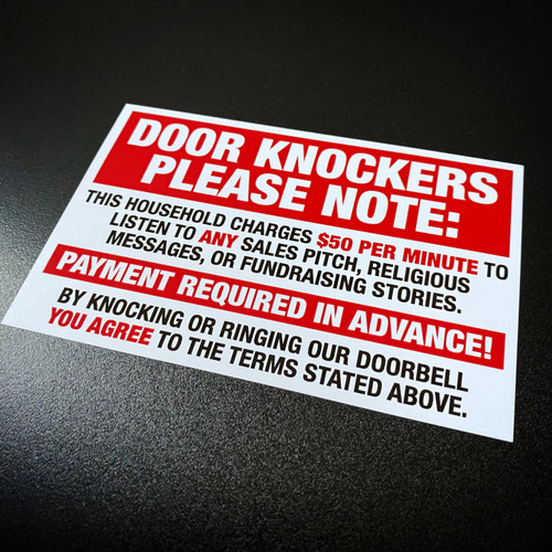 Attention Door Knockers - Sticker