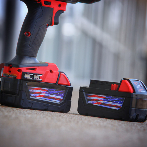 American Flag Stickers for Milwaukee M18 Battery (2 pack)