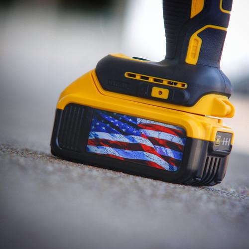 American Flag Stickers for Dewalt 20v 4 amp and 5 amp battery (2 pack)