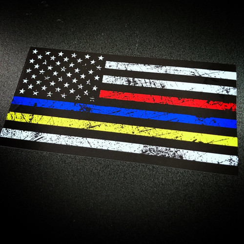 American Flag Rustic Red Blue Yellow Sticker