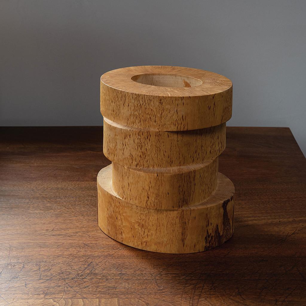 "84mk Four Tier Curly Birch Wood Bowl, Markku Kosonen, curly birch, 10.5"" x 10"" x 11"", 2001"