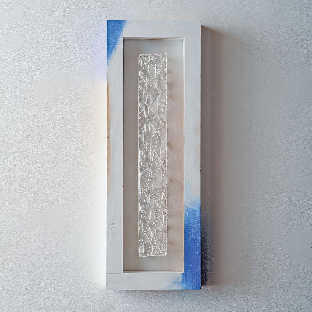 "48nk At Grands Montets, Naomi Kobayashi, kayori thread, paper & wood, 31.5"" x 11"" x 2"", 2008"