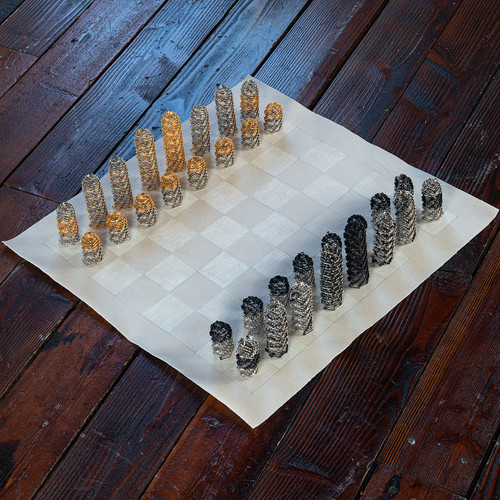 Black vs Gold Chess Set by Tamiko Kawata