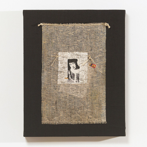 "10ik Photoatelier #10, Irina Kolesnikova, flax, silk, hand woven, 15.5"" x 11.75""; 20"" x 16"", frame, 2004"