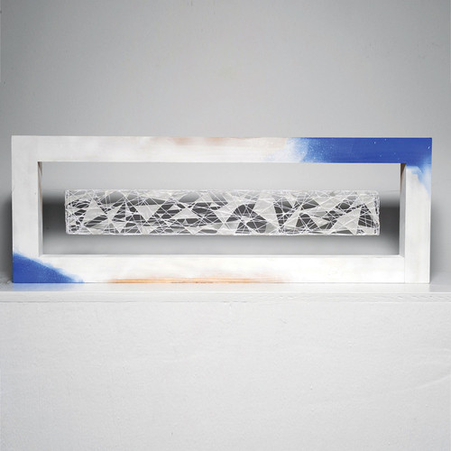 "48nk At Grands Montets, Naomi Kobayashi, kayori thread, paper & wood, 11"" x 31.5"" x 2"", 2008"
