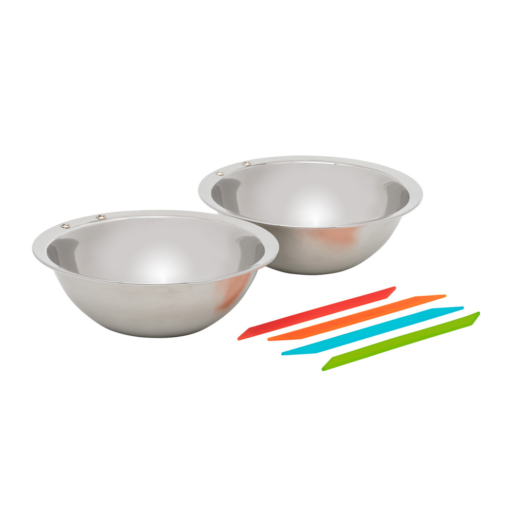 Flex Strap bowls keep your food from falling, and uses colored straps to easily identify whose bowl is whose! Camp cooking just got easier.