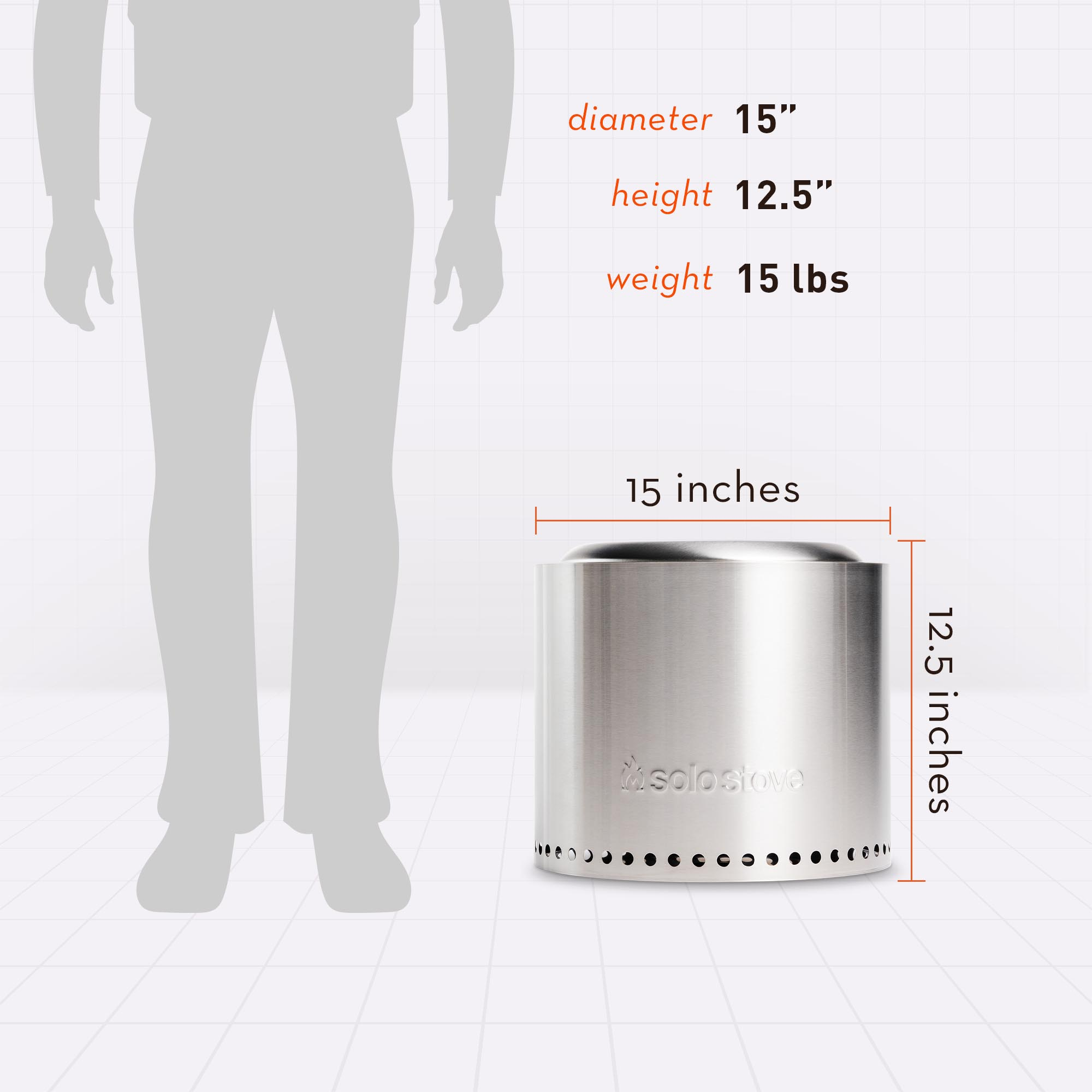 12.5 Inches Tall, 15 Inches Wide
